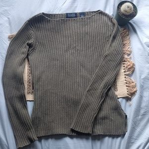Vintage olive green cotton sweater
